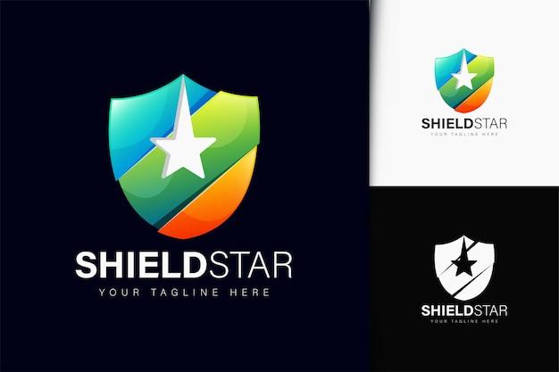 Projeto do logotipo da estrela escudo com gradiente