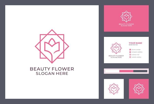 Projeto do logotipo da flor. identidade da marca de beleza. conceito de ícone natural. modelo de cartão de visita.