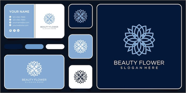 Projeto do logotipo da flor. logotipo da beleza. inspiração de design de logotipo de flor e beleza com cartão de visita