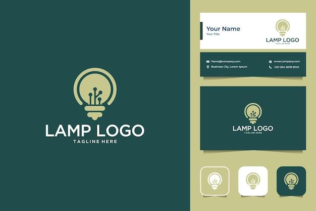 Projeto do logotipo da ideia da lâmpada e cartão de visita