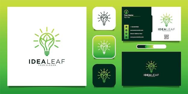 Projeto do logotipo da idéia do eco da lâmpada da folha e cartão de visita premium vector