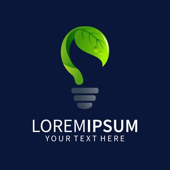 Projeto do logotipo da lâmpada com folhas isoladas em azul escuro