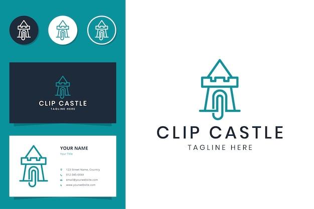 Projeto do logotipo da linha do clipe do castelo