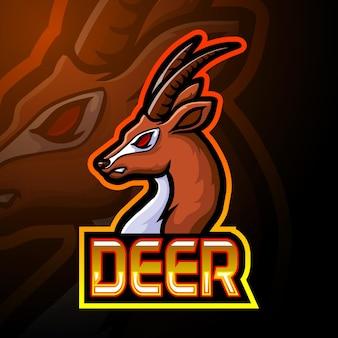 Projeto do logotipo da mascote deer e sport