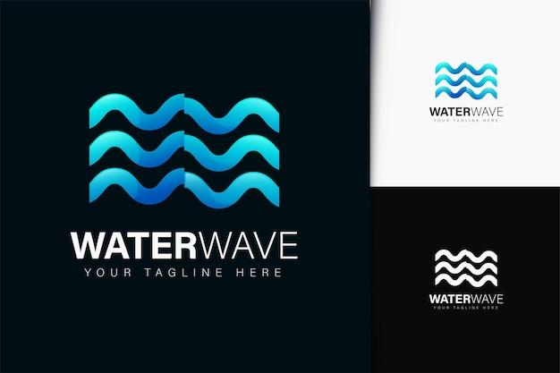 Projeto do logotipo da onda de água com gradiente