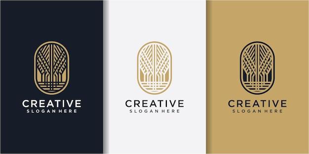 Projeto do logotipo da planta de ouro da natureza. ilustração em vetor de ícone de linha de galho. design de logotipo da natureza