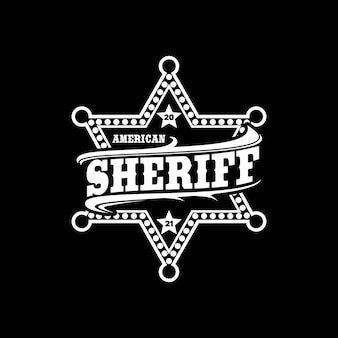 Projeto do logotipo da tipografia do emblema do sheriff star ranger.
