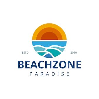 Projeto do logotipo das ondas do sol na praia