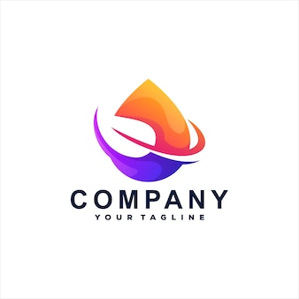 Projeto do logotipo de gradiente de cor drop Vetor Premium