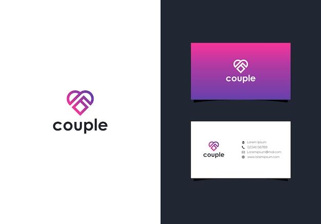 Projeto do logotipo do casal coração e cartões de visita