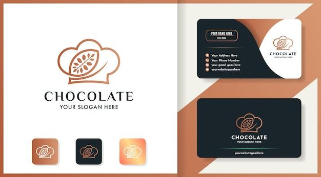 Projeto do logotipo do chapéu chocolate e cartão de visita