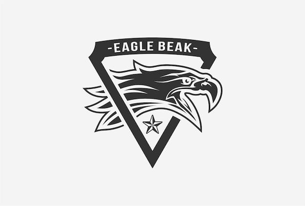 Projeto do logotipo do emblema do bico da águia na cor preta e branca.