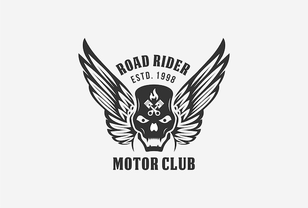 Projeto do logotipo do emblema do clube motor com elemento de crânio, asa, fogo e pistão.