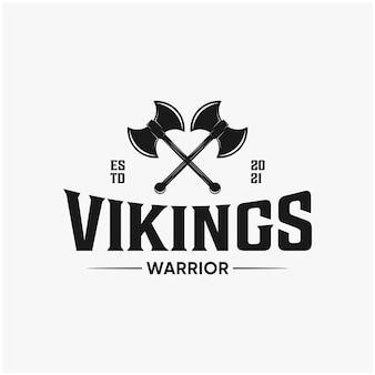 Projeto do logotipo do emblema do guerreiro vikings
