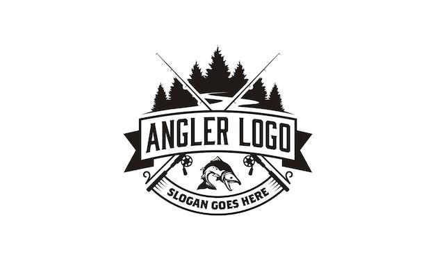 Projeto do logotipo do emblema do pescador / pesca