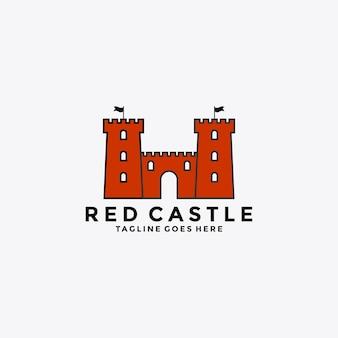 Projeto do logotipo do emblema do símbolo do castelo vermelho