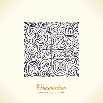 Projeto do logotipo do emblema floral caligráfico quadrado