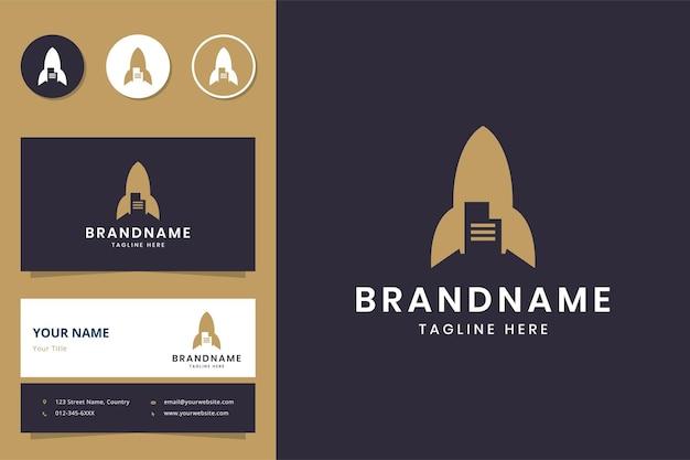 Projeto do logotipo do espaço negativo do documento foguete