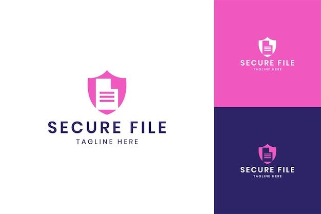 Projeto do logotipo do espaço negativo do documento protetor