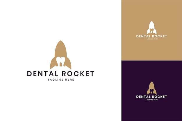 Projeto do logotipo do espaço negativo do foguete dentário