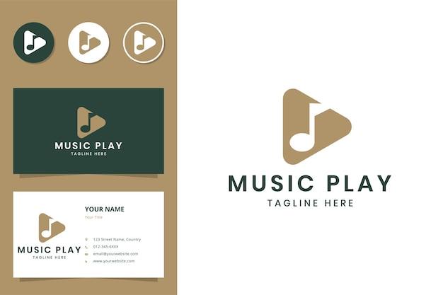 Projeto do logotipo do espaço negativo para tocar música