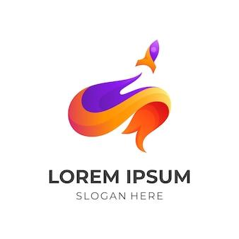 Projeto do logotipo do foguete cerebral, cérebro e foguete, combinação com estilo colorido 3d