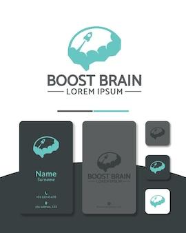 Projeto do logotipo do foguete cerebral progresso inteligente