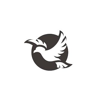 Projeto do logotipo do ícone do pássaro voador, pombo, pombo, asa, espalhamento