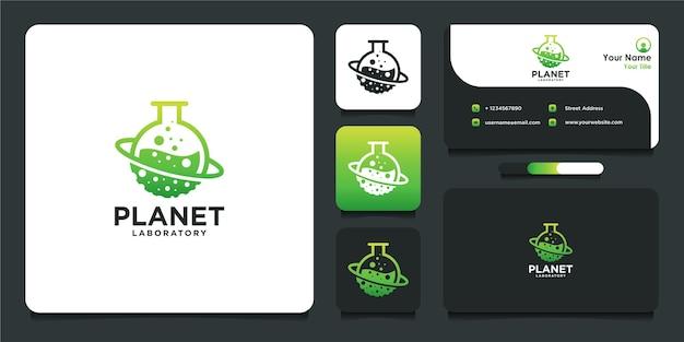 Projeto do logotipo do laboratório com estilo planeta e cartão de visita