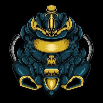 Projeto do logotipo do mascote da cabeça do robô