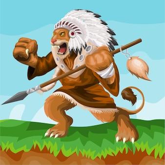Projeto do logotipo do mascote do desenho animado do leão indiano