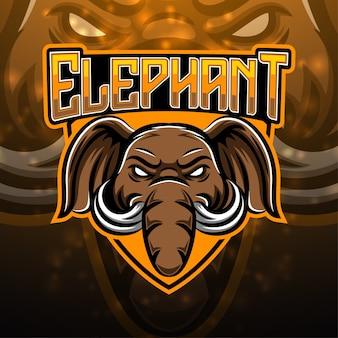 Projeto do logotipo do mascote do esporte do elefante