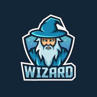 Projeto do logotipo do mascote do feiticeiro feiticeiro com estilo de ilustração moderna para emblema