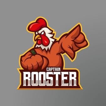 Projeto do logotipo do mascote do galo. o galo do capitão da equipe de e-sport