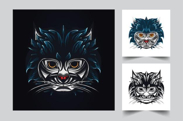 Projeto do logotipo do mascote do gato com estilo de conceito de ilustração moderna para impressão de t-shirt e emblema