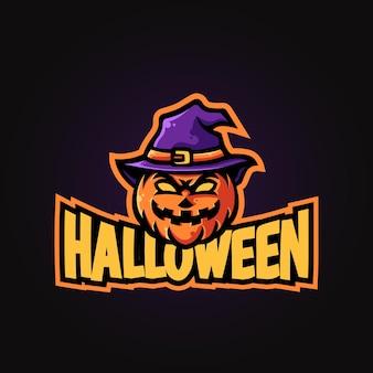 Projeto do logotipo do mascote do halloween pumpkin head