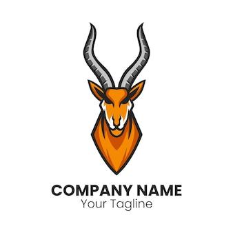 Projeto do logotipo do mascote do impala do antílope africano