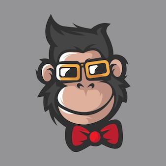 Projeto do logotipo do mascote do macaco com óculos
