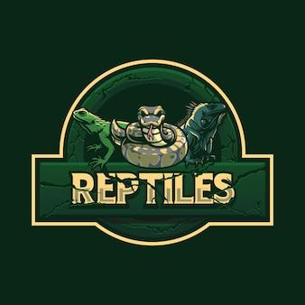 Projeto do logotipo do mascote do réptil iguana isolado no verde
