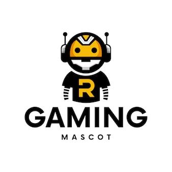 Projeto do logotipo do mascote do robô para jogos