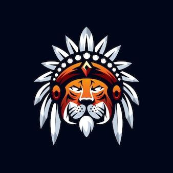 Projeto do logotipo do mascote do tigre isolado em azul escuro