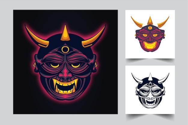 Projeto do logotipo do mascote irritado de satanás com estilo de conceito de ilustração moderna para mover