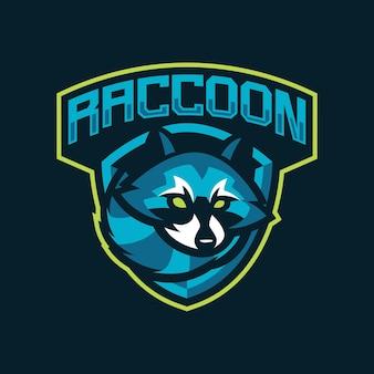 Projeto do logotipo do mascote racoon isolado em azul
