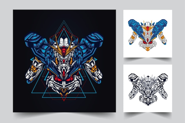 Projeto do logotipo do mascote robótico gundam com estilo de ilustração moderno para mover, emblema