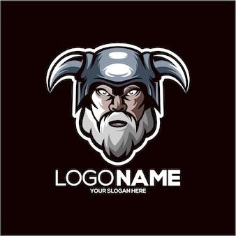 Projeto do logotipo do mascote viking isolado no preto