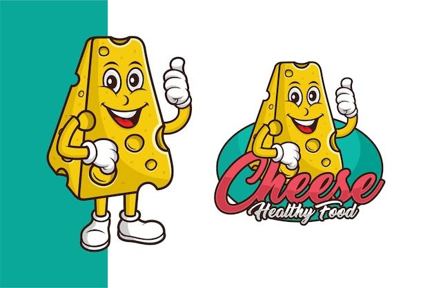 Projeto do logotipo do modelo de desenho animado do mascote do queijo