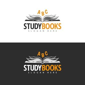 Projeto do logotipo do modelo de livros de estudo.