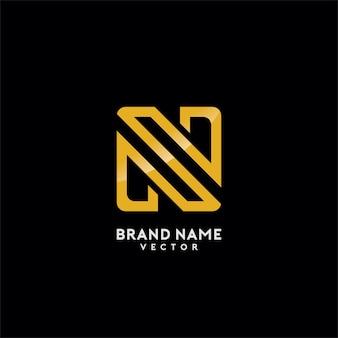 Projeto do logotipo do monograma do ouro da letra de n