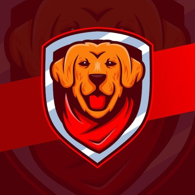 Projeto do logotipo do personagem mascote do cão golden retriever com emblemas e bandana