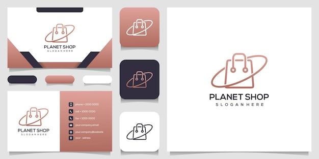 Projeto do logotipo do planeta da loja abstrata e cartão de visita.